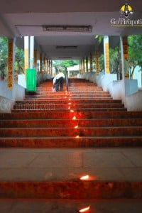 Tirumala, going down, putting candles on the steps